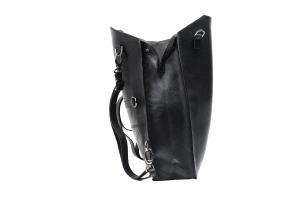 Sejima black gunmetal clutch backpack
