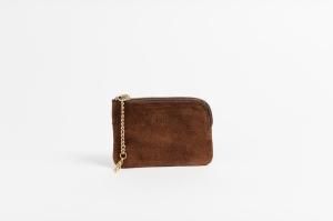 BUKVY mini wallet brown suede front