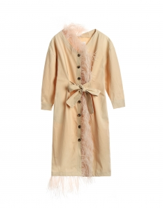 Stone Beige Over Knee Feather Dress