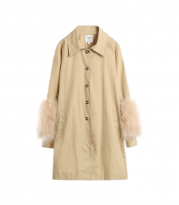 Desert Yellow Coat with Feather Cuff