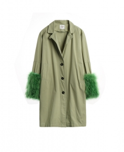 Grass Green Coat with Feather Cuff