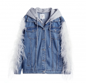 Denim Feather Hoodie Jacket Wash Blue