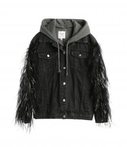 Denim Feather Hoodie Jacket Black
