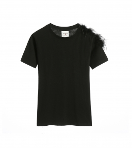 Jessica Feather T-shirt Black