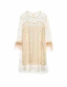 Irina Feather Trim Dress Sky Cream