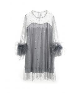 Irina Feather Trim Dress Sky Gray