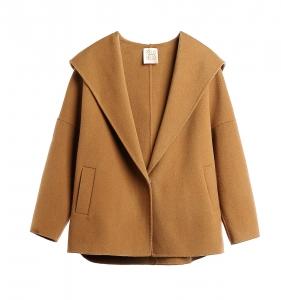 Camel Hoodie Wool Coat