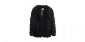 Mongolian collar coat black